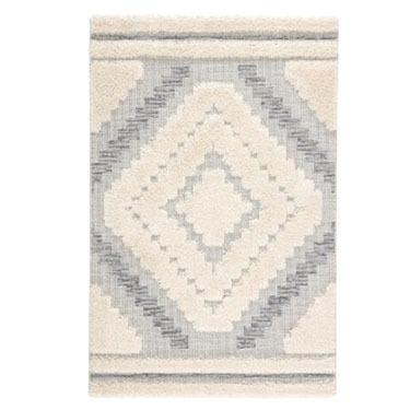 Gray and Cream Geometric Hilo Indoor Outdoor Rug